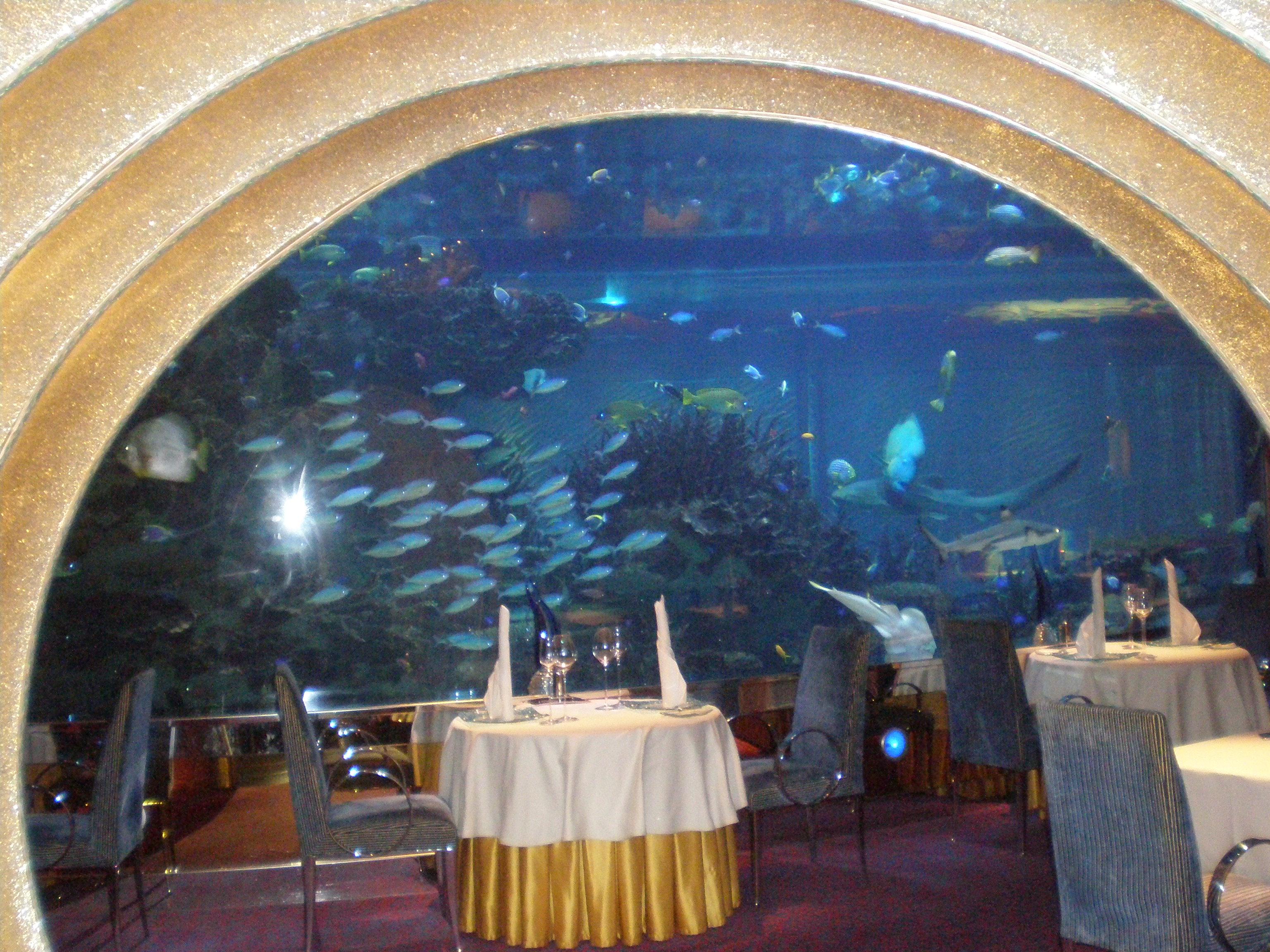Dubai burj al arab interior underwater restaurant