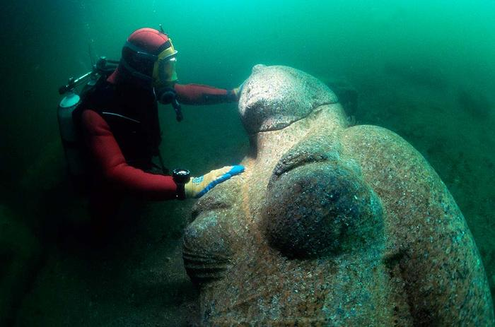 underwater ancient statues