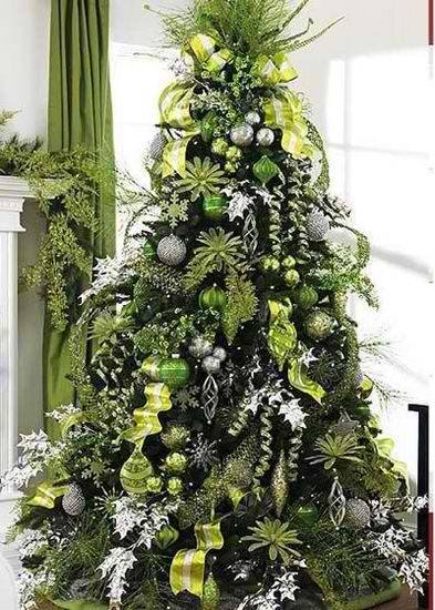 christmas tree with lime green tree decorating idea.