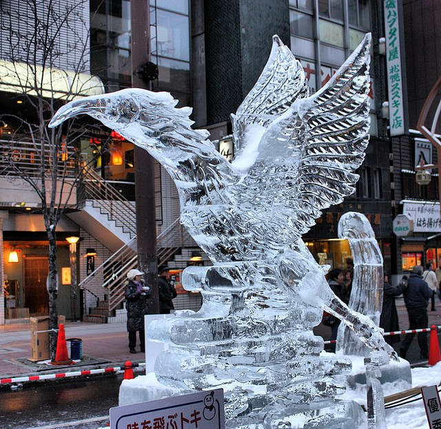 Amazing snow sculptures part sapporo and ice