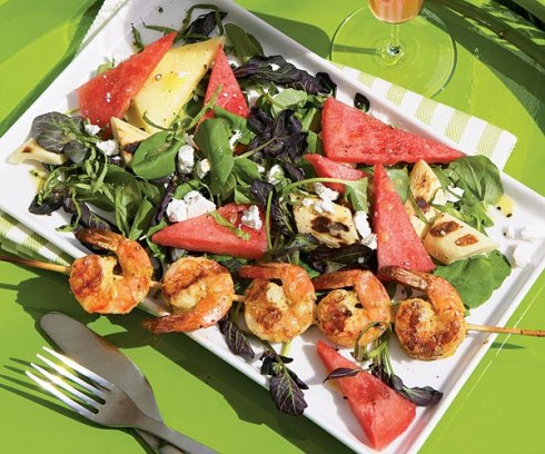 Watermelon and Cress Salad with Grilled Shrimp | moco-choco