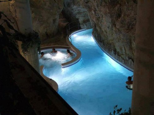 thermal baths in a natural cave,