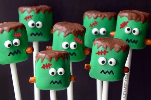 Easy and cute frankenstein marshmallow halloween recipe