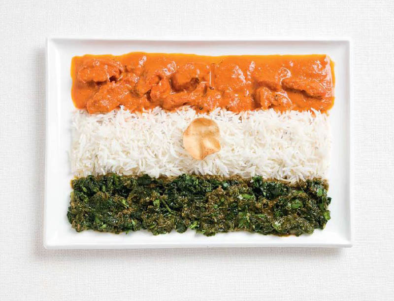 Food art national flags made from traditional food moco for Art of indian cuisine