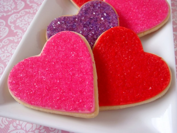 pretty heart sugar cookies recipe for the VDay