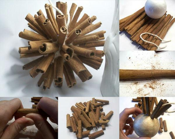 Homemade country christmas decorations - Simply Stick Cinnamon Sticks To A Foam Ball For A Natural Holiday