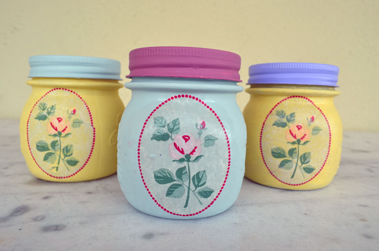 painted summer jars with decoupage technique 4